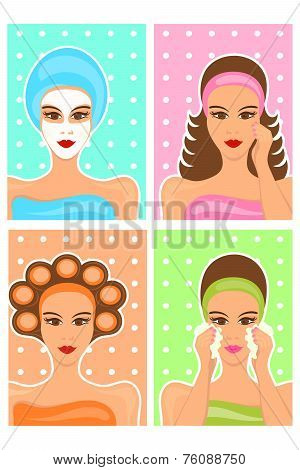 woman beauty care collage