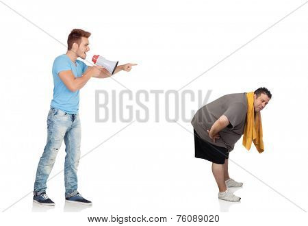 Fat men and his personal trainer with a megaphone isolated on a white background
