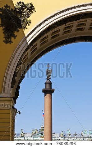 View Of The Alexander Column On Palace Square
