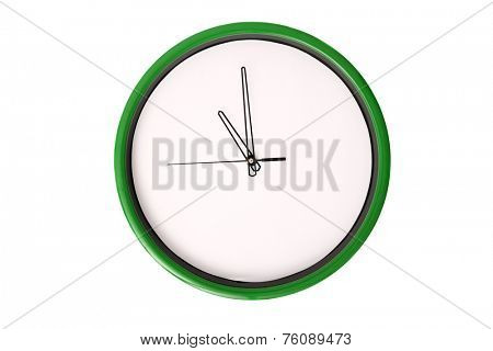 A clock showing 11 o'clock. Isolated on a white background.