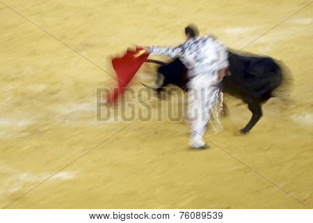 Artistic abstract about bullfigting in bullring Zaragoza, Spain.