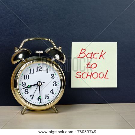 Alarm Clock And Sticker With Text Back To School