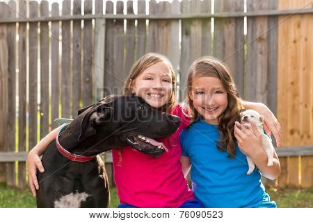Twin sisters puppy pet dog and great dane playing together