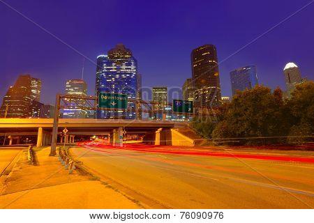 Houston downtown skyline at sunset dusk in Texas US USA