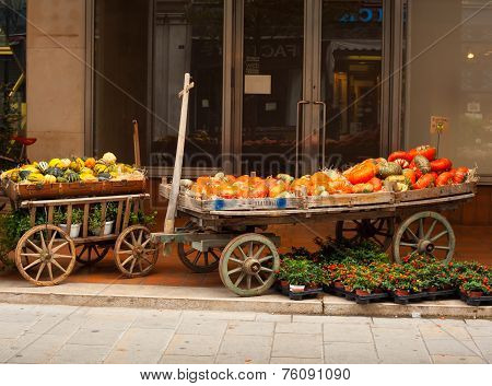 Pumpkins on wooden cart