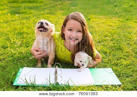 kid girl and puppy dog doing homework with chihuahua pets lying in backyard lawn