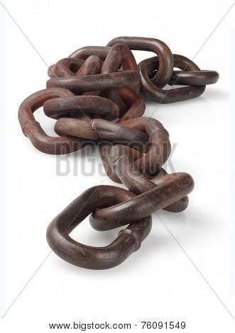 Rusty Metal Chain Lying On White Background