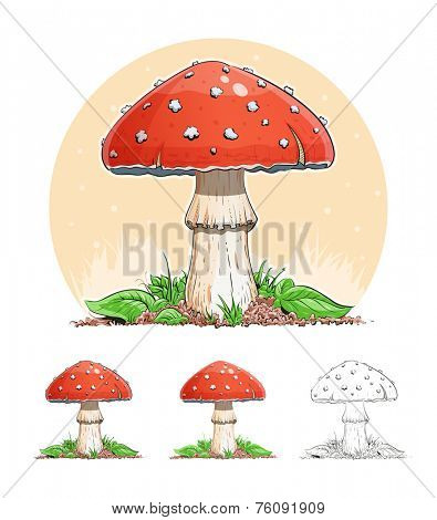 Amanita. Mushroom. Eps10 vector illustration. Isolated on white background