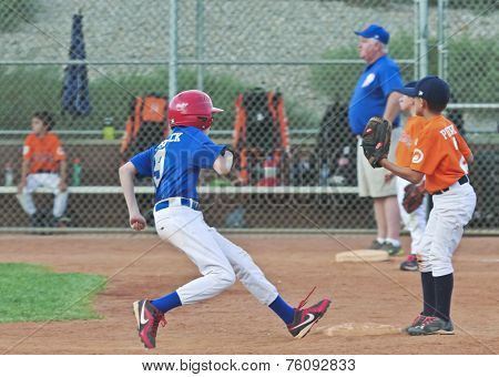 A Runner Steals Second Base Standing Up