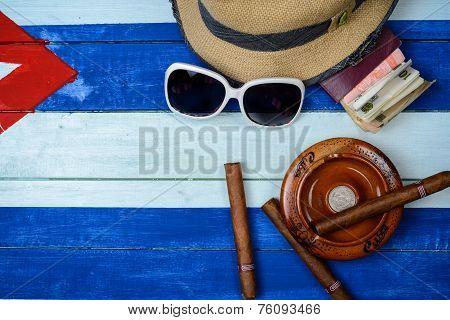 Cuban Cigars And Ash Tray On Flag