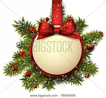 Christmas paper ball with red ribbon and satin bow. Vector illustration.
