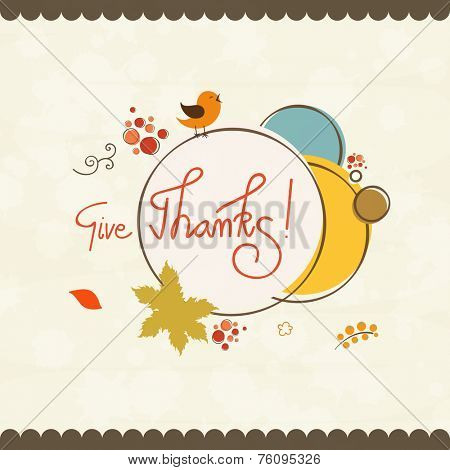 Thanksgiving poster decorated with stylish text, maple leaf and turkey bird on abstract background.