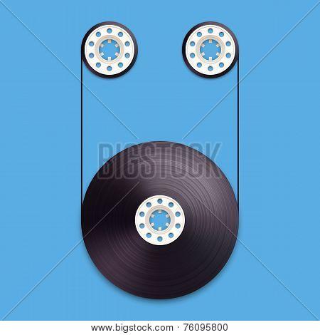 A vector illustration of a recordable bobbin of tape cassette. Letter U