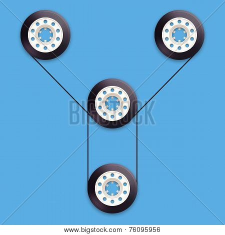 A vector illustration of a recordable bobbin of tape cassette. Letter Y