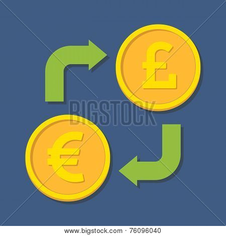 Currency Exchange. Euro And Pound Sterling.