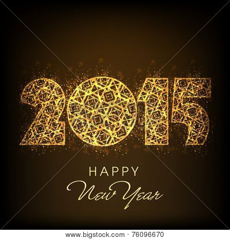 Beautiful golden text 2015 on shiny brown background for Happy New Year celebrations.