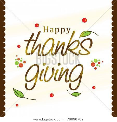 Thanksgiving Day celebration greeting or invitation card with shiny text on leaves decorated stylish background.