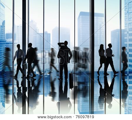 Business People Lost Rush Hour Walking Office Concept