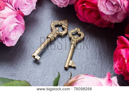 Keys with pink roses