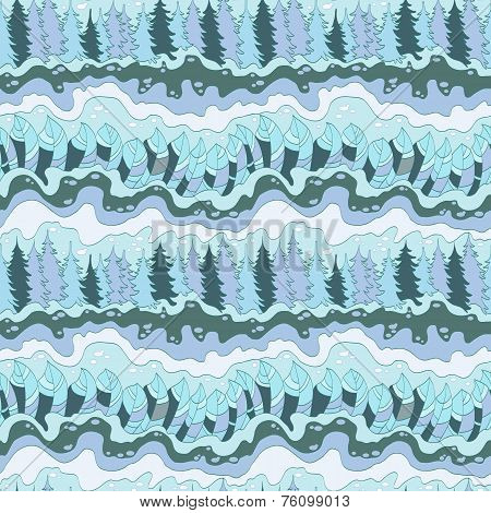 blue winter forest and river seamless pattern