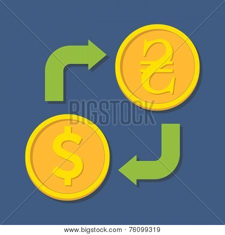 Currency Exchange. Dollar And Hryvnia.