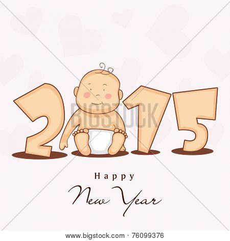 Happy New Year 2015 stylish text with cute little baby on heart shape decorated beige background.