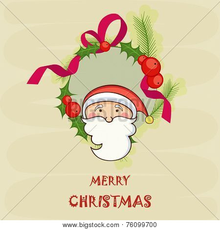 Merry Christmas sticker or label decorated with Santa Claus face, mistletoe and fir trees on stylish background.