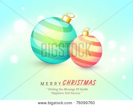 Merry Christmas celebration greeting card decorated with stylish glossy X-mas balls and wishing text on shiny blue background.