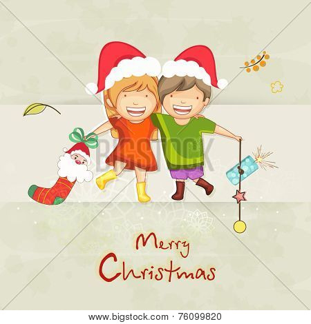 Cute little kids enjoying on the occasion of Merry Christmas.