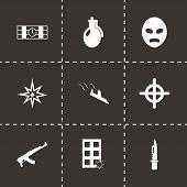 image of terrorism  - Vector black terrorism icons set on black background - JPG