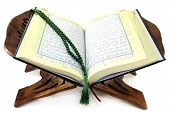 picture of quran  - Quran with Quran wooden stand in front of white background - JPG