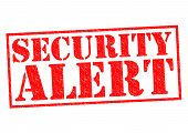 foto of unsafe  - SECURITY ALERT red Rubber Stamp over a white background - JPG