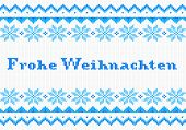 picture of weihnachten  - vector illustration of a blue and white german Christmas knit greeting card