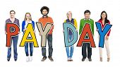 image of payday  - Group of People Standing Holding Payday Letter - JPG
