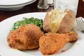pic of baked potato  - Breaded baked chicken with creamed spinach and a baked potato - JPG