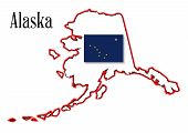 picture of sate  - Outline of the state of Alaska isolated with state flag inset - JPG