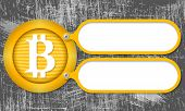 pic of bit coin  - Yellow frames with bit coin symbol and scratched background - JPG