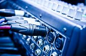 image of recording studio  - audio cable in a music studio closeup - JPG