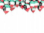 picture of kuwait  - Balloon frame with flag of kuwait isolated on white - JPG
