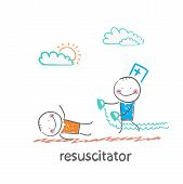 stock photo of resuscitation  - resuscitation in a hurry to sick patient - JPG