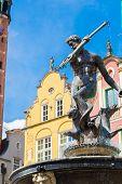 picture of poseidon  - Fountain of Neptune on the Dlugi Targ Street in Gdansk Poland - JPG