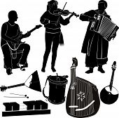 stock photo of accordion  - group of musicians and musical instruments guitar violin and accordion player - JPG