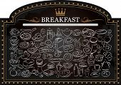 foto of breakfast  - vector illustration of breakfast items on blackboard - JPG