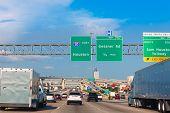 image of traffic signal  - Houston Katy Freeway Fwy traffic 10 interstate in Texas USA US - JPG