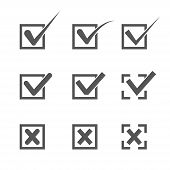 image of confirmation  - Set of nine different grey and white vector check marks or ticks in boxes conceptual of confirmation acceptance positive passed voting agreement true or completion of tasks on a list - JPG