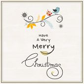 stock photo of merry chrismas  - Merry Christmas celebrations greeting card design with singing love bird and wishing text on stylish background - JPG
