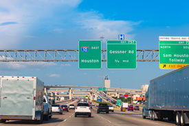 picture of traffic signal  - Houston Katy Freeway Fwy traffic 10 interstate in Texas USA US - JPG