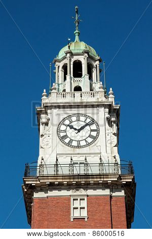 Clock on a bell tower of a cathedral in the city of Buenos Aires, Argentina
