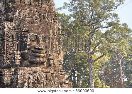 Stone Face In Bayon Temple In Ancient City Angkor