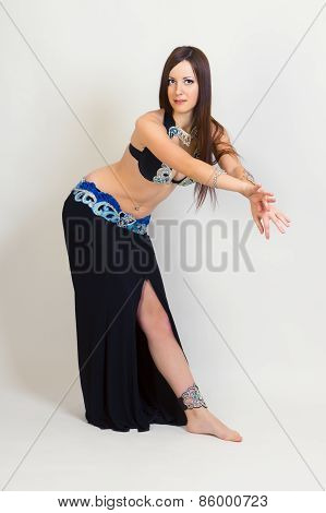 Young Woman A Performing Belly Dancing. Full Height